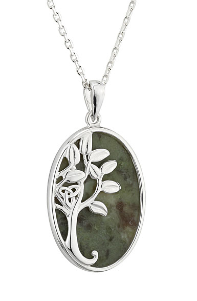 Cashs Ireland, Sterling Silver and Connemara Marble Oval Tree of Life Pendant Necklace