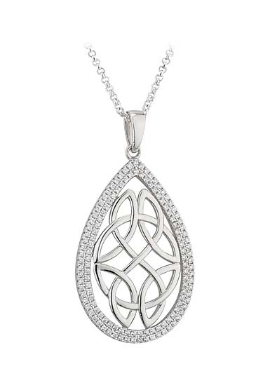 Cashs Ireland, Crystal Pave Sterling Silver Oval Celtic Knot Pendant Necklace