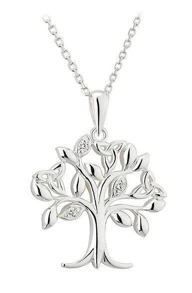 Cashs Ireland, Sterling Silver Crystal Set Tree of Life Pendant