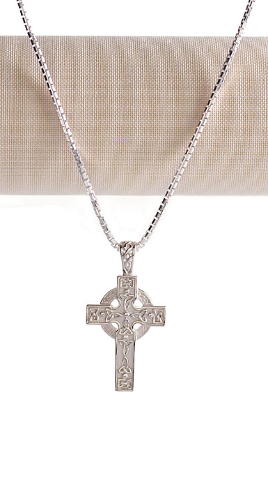 Cashs Ireland, Sterling Silver Irish Cross Pendant Necklace