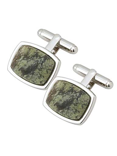Cashs Ireland, Rhodium and Connemara Marble Cufflinks Pair