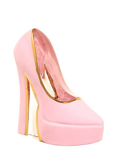 Kosta Boda Make Up Shoe, Pearl Pink Stiletto