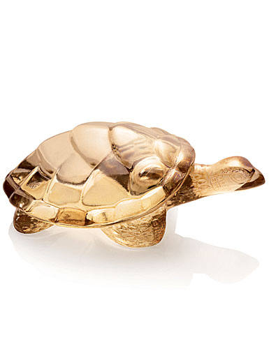 Lalique Crystal, Gold Lustre Caroline Turtle