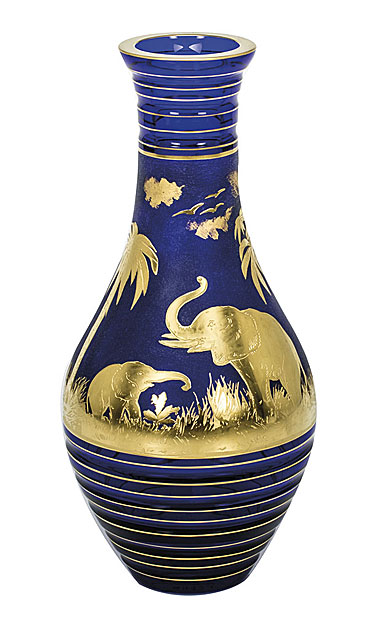 "Moser Crystal Animor Vase 11.8"" Engr Elephants Gold, Dark Blue"