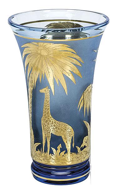 "Moser Crystal Animor Vase 12.6"" Engr Giraffes Gold, Aquamarine"