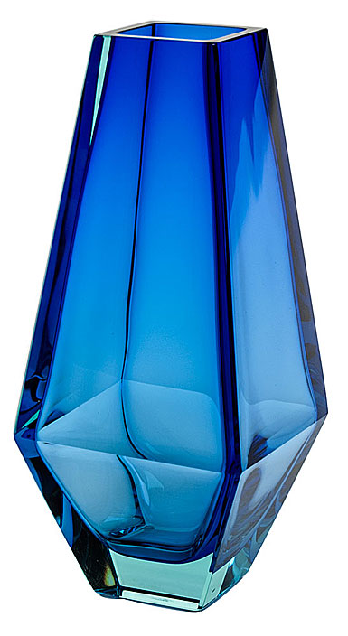 "Moser Crystal City Vase 13.8"" Beryl and Blue"