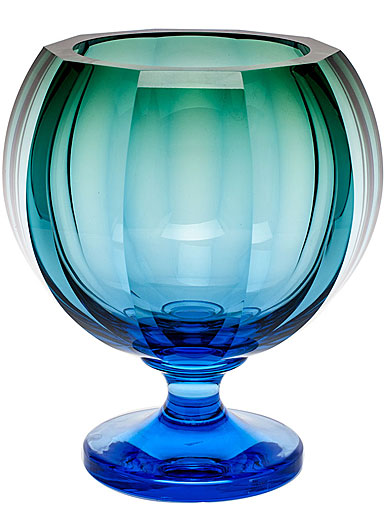 "Moser Crystal Kingdom Footed Vase 12.6"" Aquamarine and Green"
