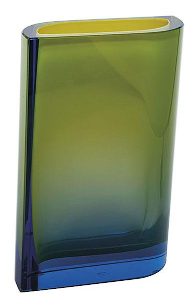 "Moser Crystal Kolorit Vase 11.8"" Aquamarine and Yellow"