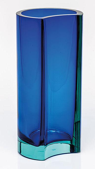 "Moser Crystal Rio Vase 11.8"" Beryl and Blue"