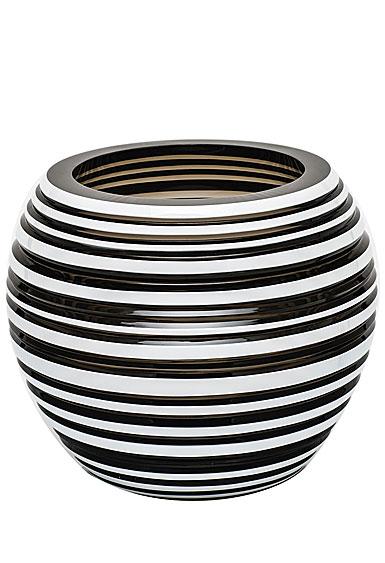 """Moser Crystal Stratis Vase 7"""" Horizontal - Smoke and White"""