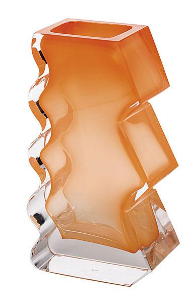"Moser Crystal Softhard Vase 12"" Clear and Orange"