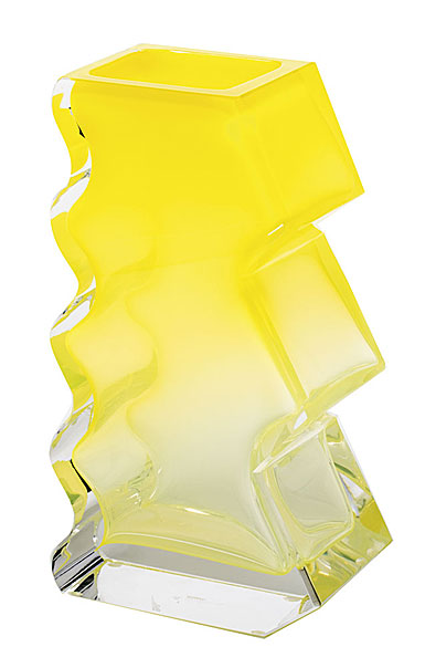 "Moser Crystal Softhard Vase 12"" Clear and Yellow"