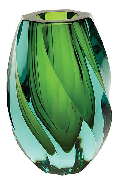 "Moser Crystal Twist Vase 8.3"" Beryl and Reseda"