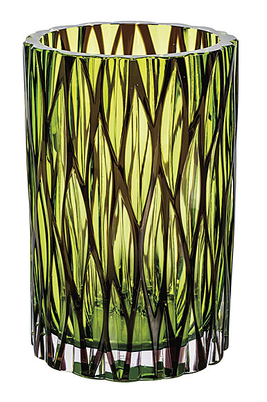 "Moser Crystal Wood Vase 8.6"" Wedge Cuts, Multicolor"