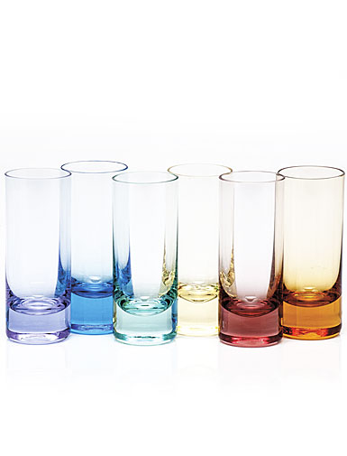 Moser Crystal Vodka Shot Glasses, Set of 6, Rainbow Colors