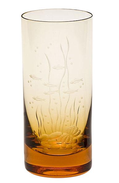Moser Crystal Whisky Hiball 13.5 Oz. Ocean Life #1 - Topaz