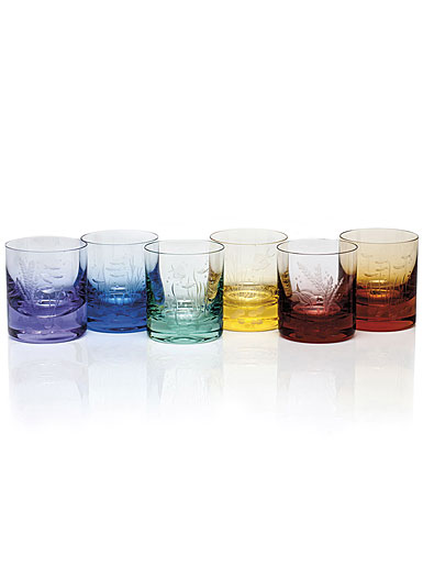 Moser Crystal Whisky D.O.F. Ocean Life in Rainbow Colors, Set of 6