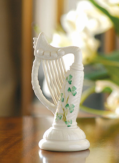 Belleek China Harp Paperweight