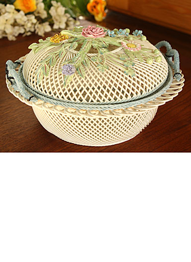 Belleek China Round Covered Basket
