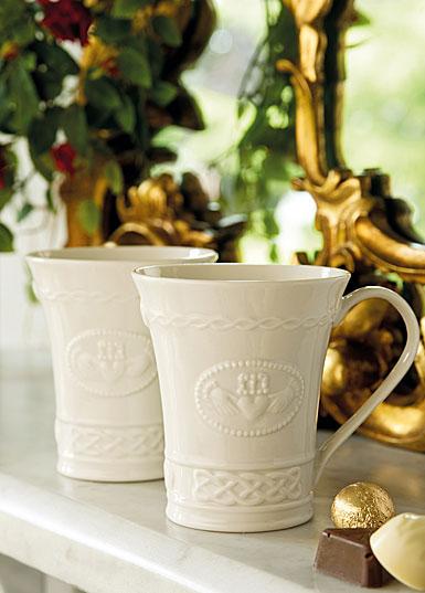 Belleek China Claddagh Mugs, Pair