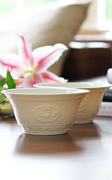 "Belleek Claddagh Cereal 6"" Bowls, Pair"
