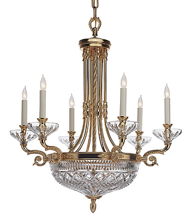 Waterford Beaumont Six Arm Chandelier, Gold Plated Finish