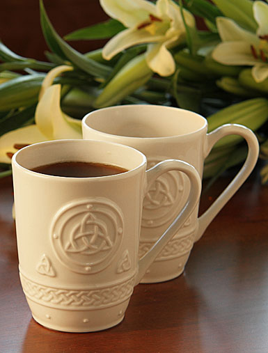 Belleek Celtic Coffee Mugs, Pair