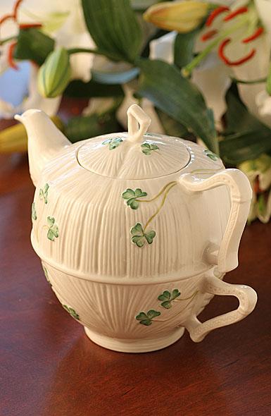Belleek China Shamrock Tea For One Set