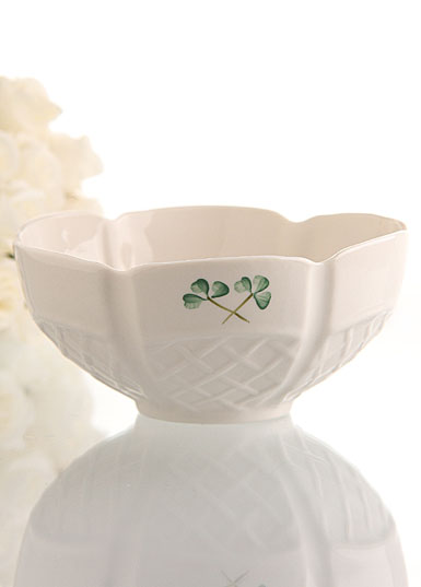 "Belleek China Shamrock Trellis 6"" Bowl"