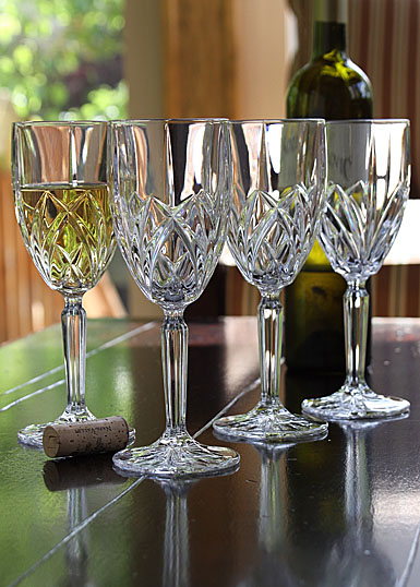Marquis by Waterford Crystal, Brookside Crystal White Wine, Set of Four