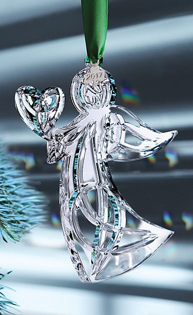 Cashs Ireland, 2017 Angel with Heart Crystal Ornament, Annual Edition