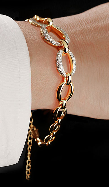 Cashs Ireland, Crystal and 18k Gold Cocktail Statement Bracelet
