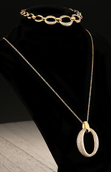 Cashs Ireland, Crystal and 18k Gold Cocktail Necklace and Bracelet Set
