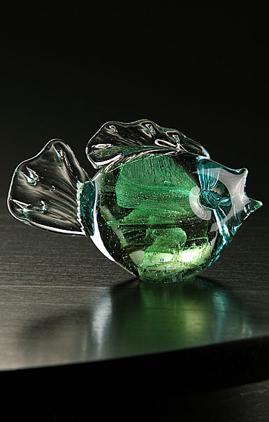 Cashs Ireland, Art Glass Forty Shades of Green, Fish Paperweight