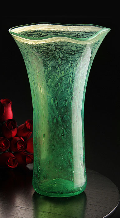 Cashs Ireland, Art Glass Forty Shades of Green, Large Vase