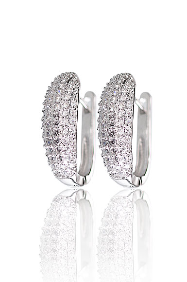 Cashs Ireland, Crystal Pave Sterling Silver Hoop Pierced Earrings Pair