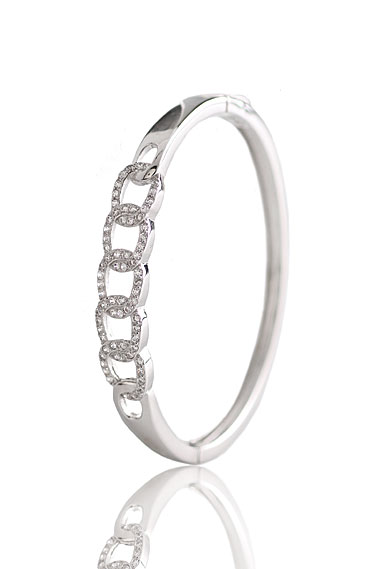 Cashs Ireland, Crystal Pave Sterling Silver Interlocked Hinged Bracelet