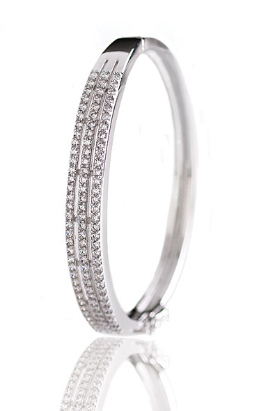 Cashs Ireland, Crystal Pave Sterling Silver Triple Hinged Bracelet