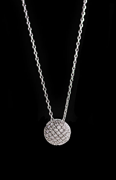 Cashs Ireland, Crystal Pave Sterling Silver Button Pendant Necklace