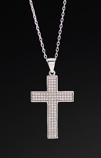 Cashs Crystal Pave Sterling Silver Large Cross Pendant Necklace