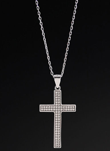 Cashs Ireland, Crystal Pave Sterling Silver Medium Cross Pendant Necklace