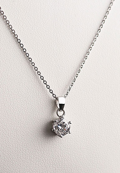 Cashs Ireland, Crystal Sterling Silver Solitaire Princess Pendant Necklace