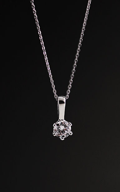 Cashs Ireland, Crystal Sterling Silver Solitaire Nouveau Pendant Necklace