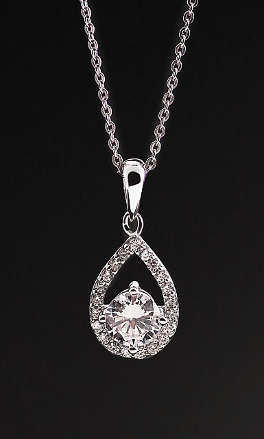 Cashs Ireland, Crystal Sterling Silver Teardrop Pave Solitaire Pendant Necklace