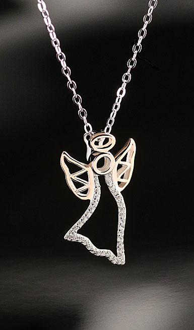 Cashs Ireland, Sterling Silver and Gold Angel Pendant Necklace