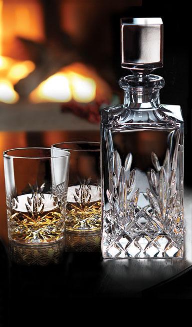 Cashs Ireland, Annestown Single Malt Whiskey Tasting Set, Crystal Decanter, Pair of Crystal Whiskey Glasses
