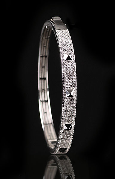Cashs Sterling Silver Crystal Pave Rock'N'Roll Hinged Bracelet