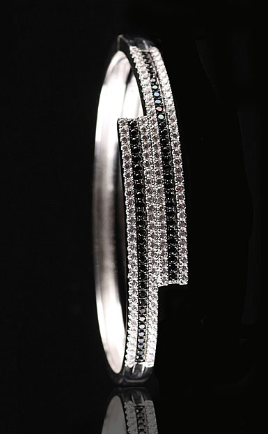 Cashs Ireland, Sterling Silver Jet Black and Crystal Pave Hinged Bracelet