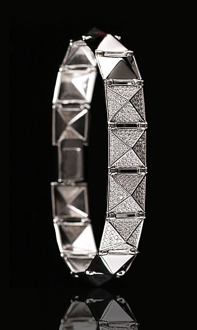 Cashs Ireland, Sterling Silver Crystal Pave Rock'n'Roll Soft Bracelet