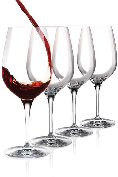 Cashs Ireland, Wine Cru Cabernet, Merlot Crystal Red Wine Glasses, Set of 4
